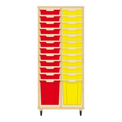 Storix Materiaalkast 51 beuken, B710 x H1458 x D465 mm - laden rood-geel