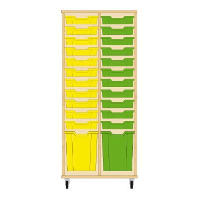 Storix Materiaalkast 51 beuken, B710 x H1458 x D465 mm - laden geel-groen