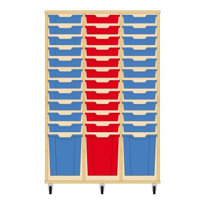 Storix Materiaalkast 51 beuken, B1050 x H1458 x D465 mm - laden blauw-rood-blauw