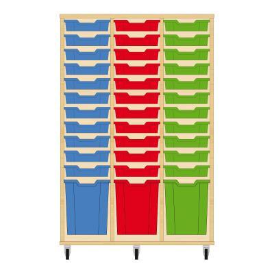 Storix Materiaalkast 51 beuken, B1050 x H1458 x D465 mm - laden blauw-rood-groen