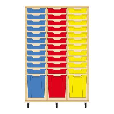 Storix Materiaalkast 51 beuken, B1050 x H1458 x D465 mm - laden blauw-rood-geel
