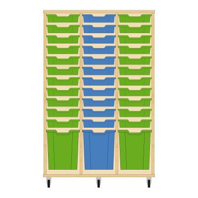 Storix Materiaalkast 51 beuken, B1050 x H1458 x D465 mm - laden groen-blauw-groen