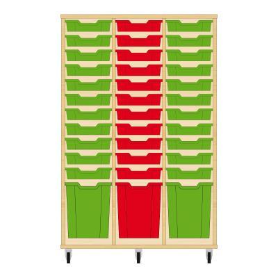 Storix Materiaalkast 51 beuken, B1050 x H1458 x D465 mm - laden groen-rood-groen