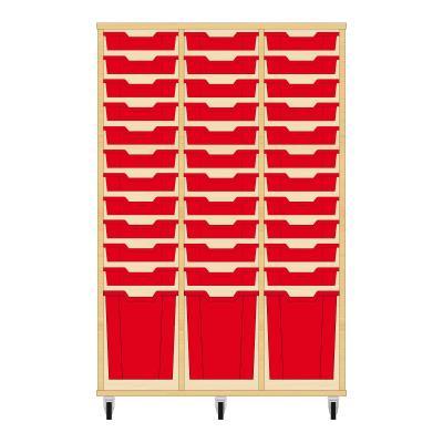 Storix Materiaalkast 51 beuken, B1050 x H1458 x D465 mm - laden rood