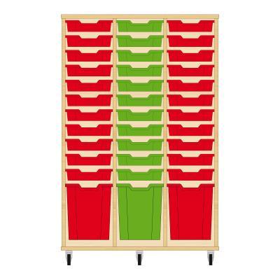 Storix Materiaalkast 51 beuken, B1050 x H1458 x D465 mm - laden rood-groen-rood