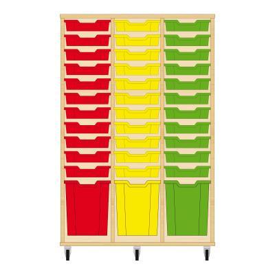 Storix Materiaalkast 51 beuken, B1050 x H1458 x D465 mm - laden rood-geel-groen
