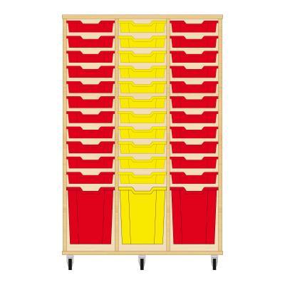 Storix Materiaalkast 51 beuken, B1050 x H1458 x D465 mm - laden rood-geel-rood