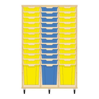 Storix Materiaalkast 51 beuken, B1050 x H1458 x D465 mm - laden geel-blauw-geel