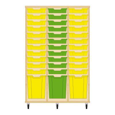 Storix Materiaalkast 51 beuken, B1050 x H1458 x D465 mm - laden geel-groen-geel