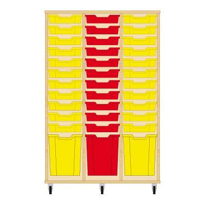 Storix Materiaalkast 51 beuken, B1050 x H1458 x D465 mm - laden geel-rood-geel
