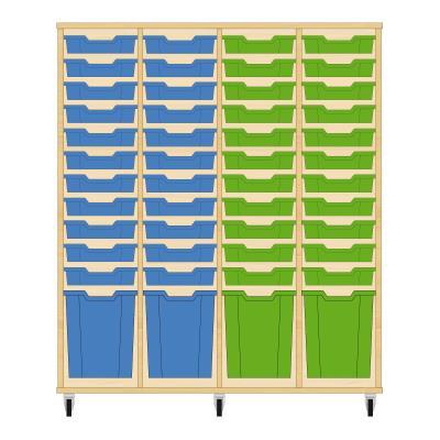 Storix Materiaalkast 51 beuken, B1390 x H1458 x D465 mm - laden blauw-blauw-groen-groen
