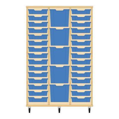 Storix Materiaalkast 82 beuken, B1050 x H1458 x D465 mm - laden blauw