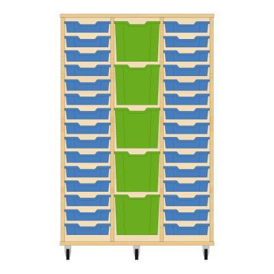 Storix Materiaalkast 82 beuken, B1050 x H1458 x D465 mm - laden blauw-groen-blauw