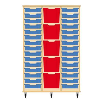 Storix Materiaalkast 82 beuken, B1050 x H1458 x D465 mm - laden blauw-rood-blauw