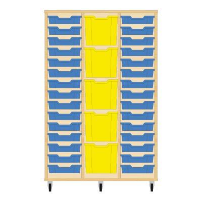 Storix Materiaalkast 82 beuken, B1050 x H1458 x D465 mm - laden blauw-geel-blauw
