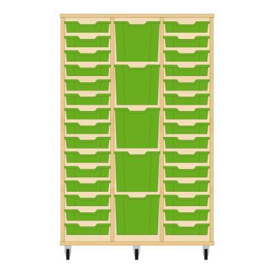 Storix Materiaalkast 82 beuken, B1050 x H1458 x D465 mm - laden groen