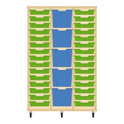 Storix Materiaalkast 82 beuken, B1050 x H1458 x D465 mm - laden groen-blauw-groen