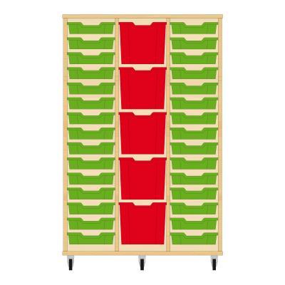 Storix Materiaalkast 82 beuken, B1050 x H1458 x D465 mm - laden groen-rood-groen