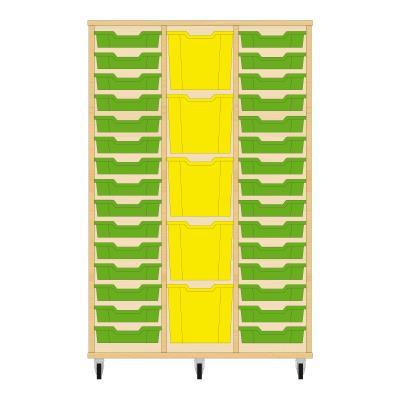 Storix Materiaalkast 82 beuken, B1050 x H1458 x D465 mm - laden groen-geel-groen