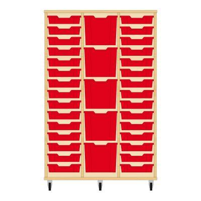 Storix Materiaalkast 82 beuken, B1050 x H1458 x D465 mm - laden rood