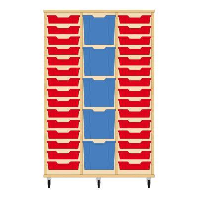 Storix Materiaalkast 82 beuken, B1050 x H1458 x D465 mm - laden rood-blauw-rood