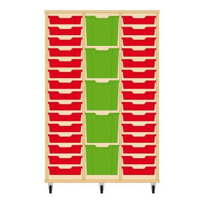 Storix Materiaalkast 82 beuken, B1050 x H1458 x D465 mm - laden rood-groen-rood