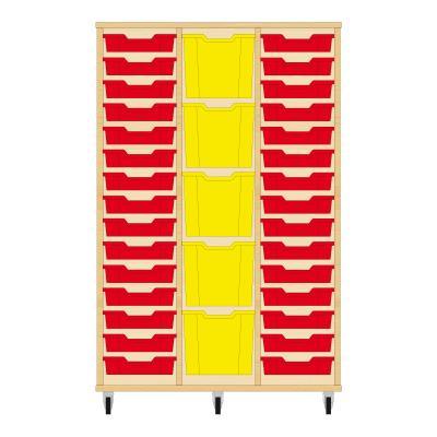 Storix Materiaalkast 82 beuken, B1050 x H1458 x D465 mm - laden rood-geel-rood