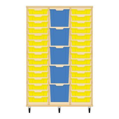 Storix Materiaalkast 82 beuken, B1050 x H1458 x D465 mm - laden geel-blauw-geel