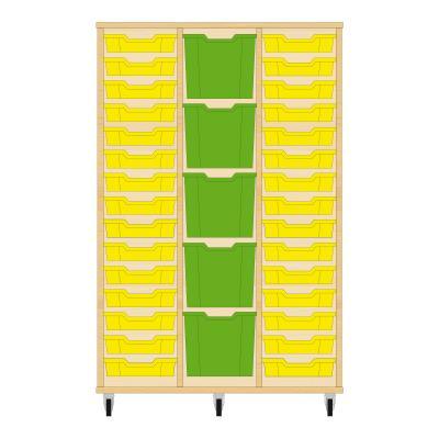 Storix Materiaalkast 82 beuken, B1050 x H1458 x D465 mm - laden geel-groen-geel