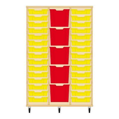 Storix Materiaalkast 82 beuken, B1050 x H1458 x D465 mm - laden geel-rood-geel