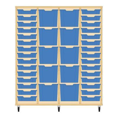 Storix Materiaalkast 92 beuken, B1390 x H1458 x D465 mm - laden blauw