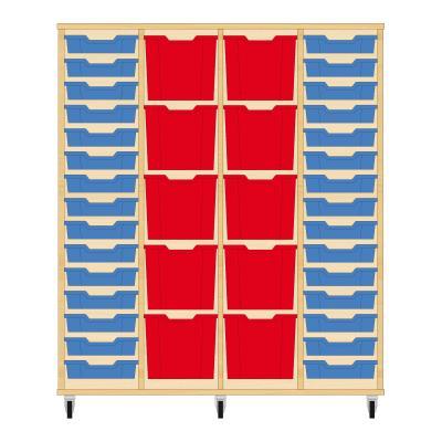 Storix Materiaalkast 92 beuken, B1390 x H1458 x D465 mm - laden blauw-rood-rood-blauw