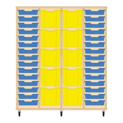 Storix Materiaalkast 92 beuken, B1390 x H1458 x D465 mm - laden blauw-geel-geel-blauw