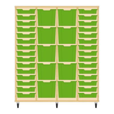 Storix Materiaalkast 92 beuken, B1390 x H1458 x D465 mm - laden groen