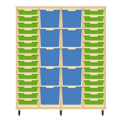 Storix Materiaalkast 92 beuken, B1390 x H1458 x D465 mm - laden groen-blauw-blauw-groen