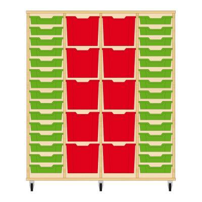 Storix Materiaalkast 92 beuken, B1390 x H1458 x D465 mm - laden groen-rood-rood-groen