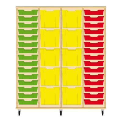 Storix Materiaalkast 92 beuken, B1390 x H1458 x D465 mm - laden groen-geel-geel-rood