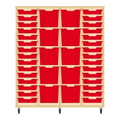 Storix Materiaalkast 92 beuken, B1390 x H1458 x D465 mm - laden rood