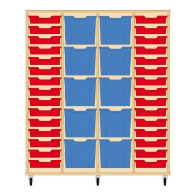 Storix Materiaalkast 92 beuken, B1390 x H1458 x D465 mm - laden rood-blauw-blauw-rood