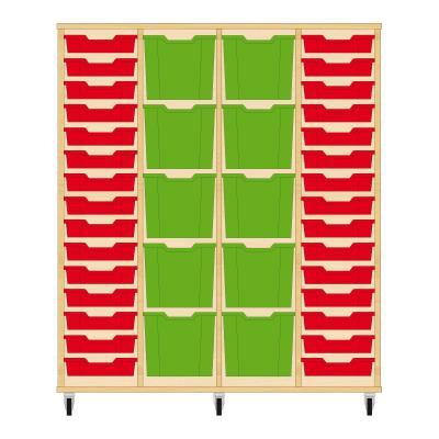 Storix Materiaalkast 92 beuken, B1390 x H1458 x D465 mm - laden rood-groen-groen-rood