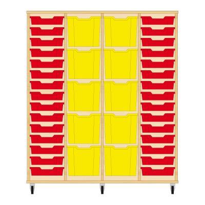 Storix Materiaalkast 92 beuken, B1390 x H1458 x D465 mm - laden rood-geel-geel-rood