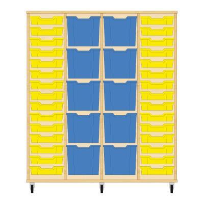 Storix Materiaalkast 92 beuken, B1390 x H1458 x D465 mm - laden geel-blauw-blauw-geel
