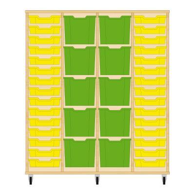 Storix Materiaalkast 92 beuken, B1390 x H1458 x D465 mm - laden geel-groen-groen-geel