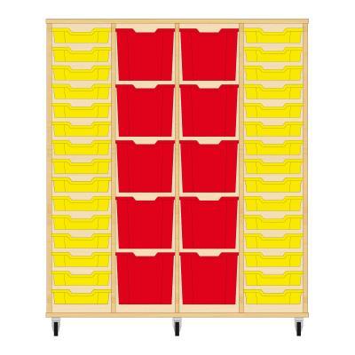 Storix Materiaalkast 92 beuken, B1390 x H1458 x D465 mm - laden geel-rood-rood-geel