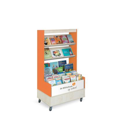 Foxis browser boekenkast enkelzijdig B900 x D600 x H1660 mm - ahorn-oranje