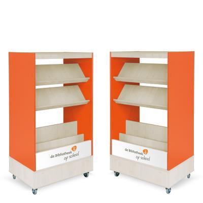 Foxis browser boekenkast dubbelzijdig B900 x D600 x H1660 mm - ahorn-oranje