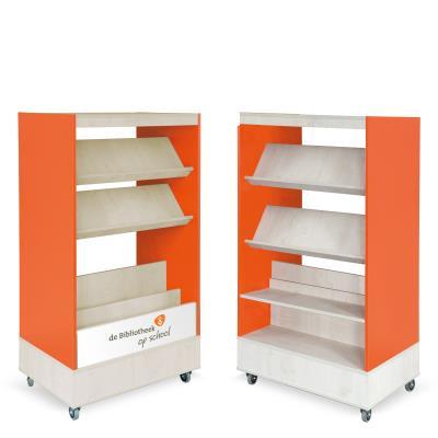 Foxis browser boekenkast hybride dubbelzijdig B900 x D600 x H1660 mm - ahorn-oranje